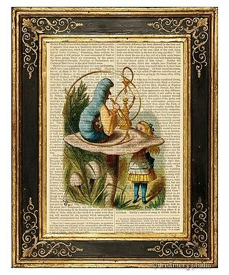 Alice in Wonderland Art Print on Antique Book Page Talking to Caterpillar Color
