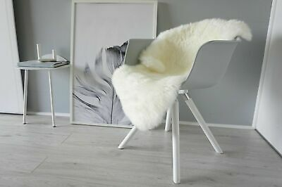 Large Genuine Natural - Soft Fluffy Silky Warm Wool Sheepskin Rug White - Real
