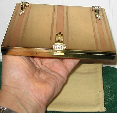 Vint40S Deco Volupte Jeweled Clutch Purse Gold Compact Lipstick Comb $$$$ Duster