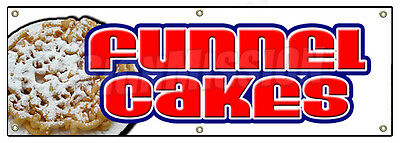 "72"" FUNNEL CAKES BANNER SIGN cake deep fried fresh hot concession festival"