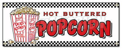 POPCORN BANNER SIGN stand cart concession signs kettle corn hot buttered