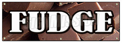 """72"""" FUDGE BANNER SIGN chocolate concessions candy shop homemade store home made"""