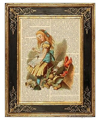 Alice in Wonderland Art Print on Antique Book Page Vintage Upsetting Jury Color