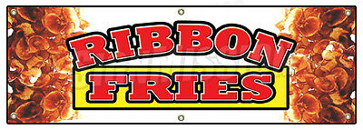 "72"" RIBBON FRIES BANNER SIGN hot chips french signs fresh frys fried"