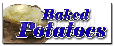 "12"" BAKED POTATOES DECAL sticker baked concession stuffed hot Idaho potato"