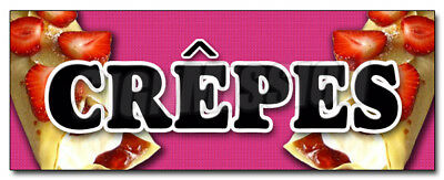"24"" CREPES DECAL sticker crepe thin strawberry breakfast restaurant marketing"