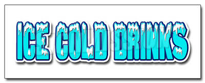 """24"""" ICE COLD DRINKS 1 DECAL sticker drink cart stand supplies trailer"""