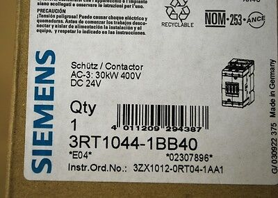 Siemens 3RT1044-1BB40 Contactor - NEW