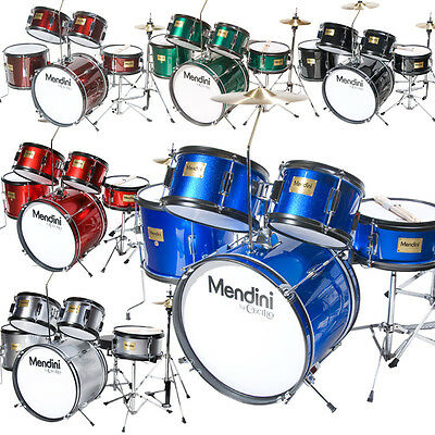 Mendini 5 Pcs Junior Kids Drum Set Throne Cymbal Black Blue Green