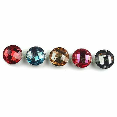 100x Wholesale Charms Mixed Round Flatback Faced Sew On Resin Buttons 14mm 24563