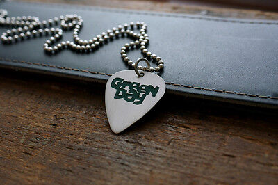 Hand Made Etched Nickel Silver Guitar Pick with Green Day