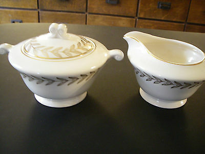 Edwin M. Knowles Semi Vitreous Sugar and Creamer ivory with gold EXCELLENT COND