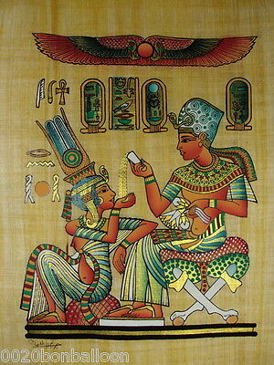 "Original Hand Painted Papyrus 8""X12"" (20x30 Cm)  King & Queen Ancient Pharaoh"