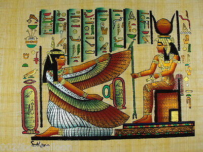 "Egypt Pharaoh Isis And Maat Original Hand Painted Papyrus 8""X12"" (20x30 Cm)"
