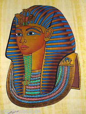 "Original Hand Painted Papyrus 8""X12"" (20x30 Cm) King Tut Musk Face Pharaoh"