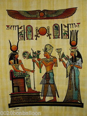 "Original Hand Painted Papyrus 8""X12"" (20x30 Cm) Isis And Maat Offering Flowers"