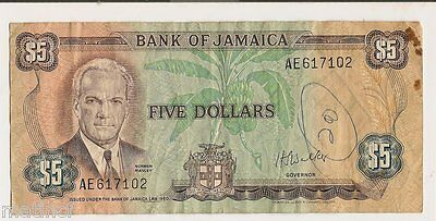 Bank of Jamaica $5....Issued Under The Bank of Jamaica Law 1960...AE617102
