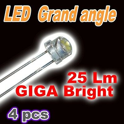 402/4# Ultra LED 5mm blanc  Grand angle 25lm garanti !! 4pcs LED blanche
