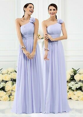 Cadbury Purple Chiffon Formal Wedding Bridesmaid Party Evening Prom Dress
