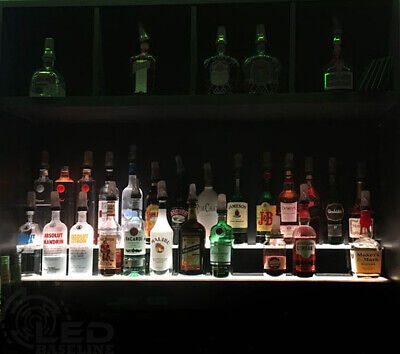 "60"" LED BAR SHELVES, Two Steps, Lighted Liquor Bottle Shelf,  Display Shelving"