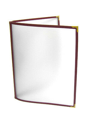 "Menu Cover Double Plastic Matted Surface Foggy Maroon Binding 8 1/2"" x 11"" TH"