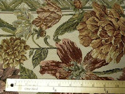 BTY Floral Tapestry  Tan Lavender Green Purple Pink  Blooms Upholstery Fabric