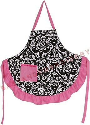 Damask Apron Pink Full Length Smock Rhinestone Transfer Embroidery Option