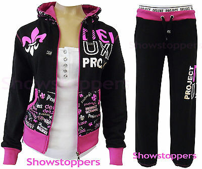 NEW Womens TRACKSUIT Girls Hoodie POCKET Ladies SUIT Trousers Size 8 10 12 14