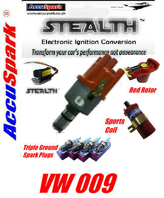 VW Camper,Beetle,Ghia,Bus 009 Electronic Distributor/Red Rotor/ Coil/Spark plugs