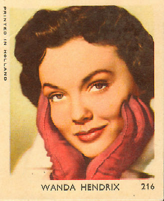 VAL BUBBLE GUM/ DUTCH MOVIE STAR GUM CARD - No.216 WANDA HENDRIX