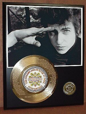 """BOB DYLAN ETCHED W/ LYRICS """"BLOWIN IN THE WIND"""" 45kt GOLD RECORD LTD EDITION"""