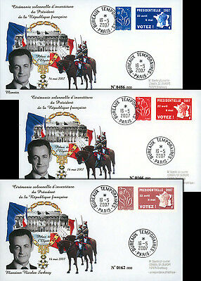 "EP07-4S Set 3 FDC ""France 2007 Presidential Election - Inauguration Day SARKOZY"""