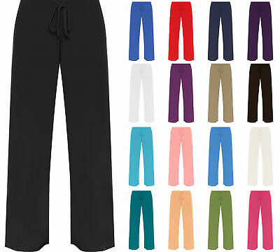New Plus Size Womens Plain Palazzo Wide Leg Flared Ladies Trousers Pants 12-30
