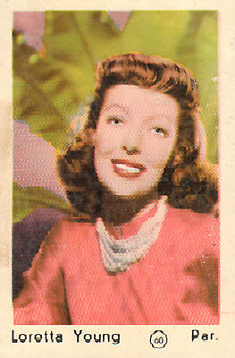 DUTCH MOVIE STAR GUM CARDS - No. 060 LORETTA YOUNG