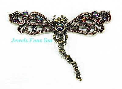 "Jay Strongwater Xlarge 4"" Wide Dragonfly Pin Brooch Swarovski New Made In Usa"