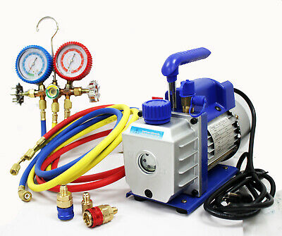 Combo  AC A/C ELECTRIC Air Vacuum Pump +  R12 R22 R502 AC MANIFOLD GAUGE SET