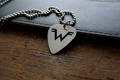 Hand Made Etched Nickel Silver Guitar Pick with Weezer