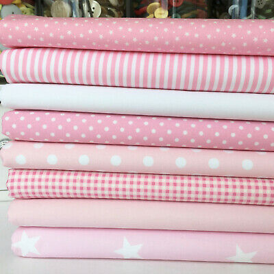 "Baby girl pink & white fabrics per half metre & 8 FQ bundle 100% cotton 44"" wide"