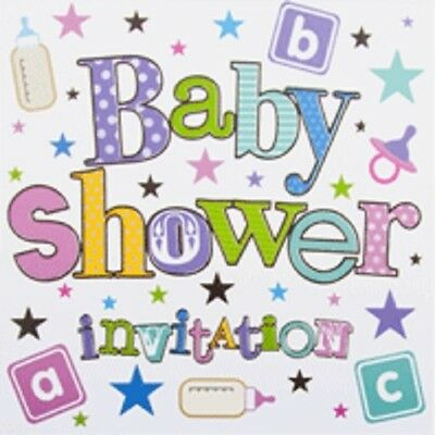 Pack Of 6 Unisex Baby Shower Card Invitations & Envelope - Stars & Bottles DP294