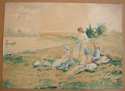 Unknown Unidentified: Women by the Lake 1934/Polish Hungarian Watercolor Vintage