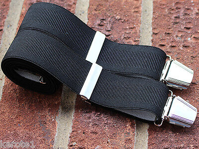 Mens Trouser Braces Black Wide Elastic Adjustable 35mm 4 Heavy Duty Clasps