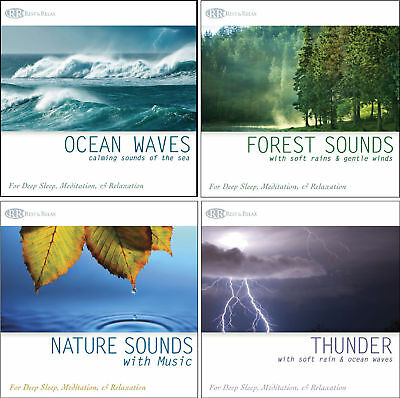 4 CDs: Ocean Waves CD, Forest Sounds, Thunder Nature Sounds-Sounds of Nature NEW