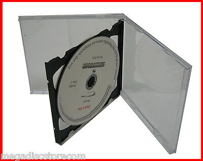 10.4mm 2 CDs Double Standard Jewel Case Black Tray Assembled 50 Pk CANADA n USA