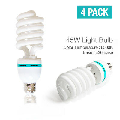 |4Pack| 45W 6500K Bright Photography Studio Photo Video Continuous Lighting Bulb