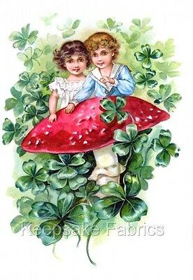 Cute Kids On Red Mushroom ~ 4 Leaf Clovers Multi Sizes FrEE ShiPPinG WoRld WiDE