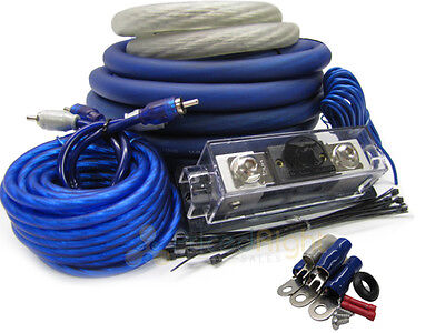 Blue True 0 Gauge Professional Car Audio AMP / Amplifier Power Wiring Kit