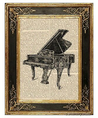 Grand Piano Art Print on Vintage Book Page Home Office Hanging Decor Gifts
