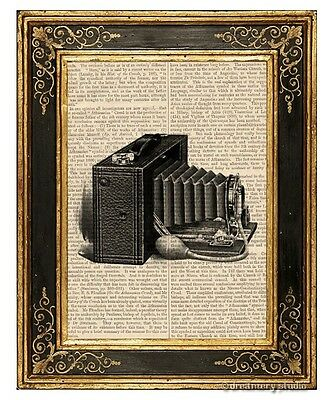 Brownie Camera Art Print on Vintage Book Page Home Office Hanging Decor Gifts