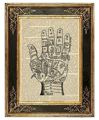 Palmistry Palm Reading Chart Art Print on Antique Book Page Vintage Illustration