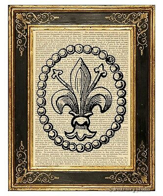 Fleur de Lis 1 Art Print on Antique Book Page Vintage Illustration French Lily